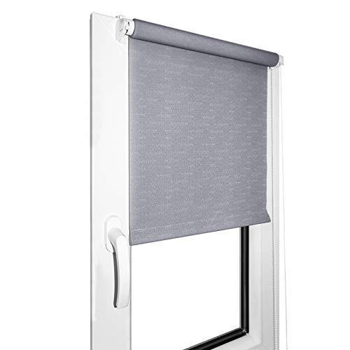 DecoMeister Rollo Fensterrollo Verdunkelung Ohne Bohren Klemmfix Seitenzugrollo Sichtschutz Sonnenschutz Fenster Balkon 68x220 cm Verdunkelungsrollo Grau
