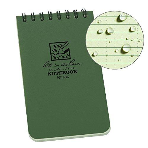 Rite in the Rain Universal Pocket Top spiraal notitieboek – groen/groen, 7,6 x 12,7 cm, pocket notebook, groen/groen