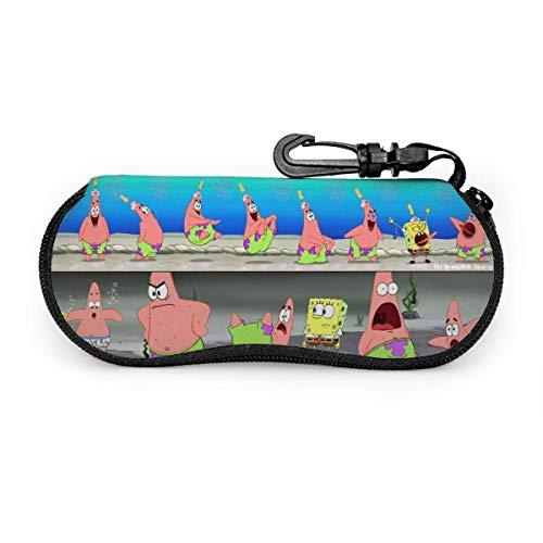 Brillenetui, Spongebob Schwammkopf Tragbare Reise-Sonnenbrille mit Reißverschluss Etui Lesebrille Schutzset