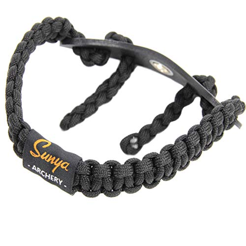 SUNYA Archery Bow Wrist Sling, New Lightweight 550 Paracord Portion, No Split Leather Yoke with Metal Grommet, Black Color