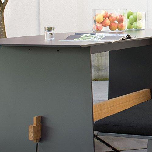Conmoto Tension – Bank mit Rückenlehne 76 x 220 x 57 cm HPL anthrazit – Traverse aus Teak – ohne Auflage – Outdoorbank – Gartenbank - 3