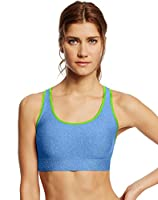 Champion Women's Absolute Shape Sports Bra with SmoothTec Band, Berry Delight Heather/Deep Sea Coral, Large