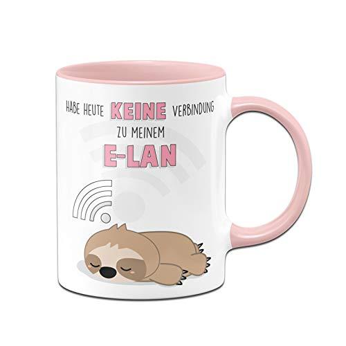 Tassenbrennerei Faultier Tasse mit Spruch Habe Heute Keine Verbindung zu Meinem E-LAN - Kaffeetasse lustig - Geschenk Kollegin - Spülmaschinenfest (Rosa)