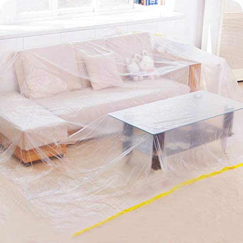 "Ruibo Large Sofa Couch Cover for Furniture Protector Cover/Waterproof Plastic Drop Cloth/Clear Plastic Tarp for Painting,Moving and Long Term Storage, 12 sq.ft,146""lx106""w"