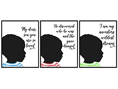 Black African American Boys Bedroom Wall Art - Son Gifts for Boys Room Decor - Inspirational Quotes - Motivational Educational Little Boys, Toddler Boys, Baby Boy, Nursery, Kids Room Decorations Set