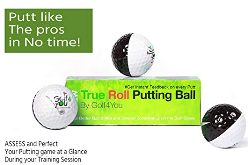 New ! Pack of 3 Golf Putting Balls | Golf Training Balls - True Roll Putting Ball - Alignment Improvement Golf Accessories - Teaches You to get The Ball Rolling on The Intended line