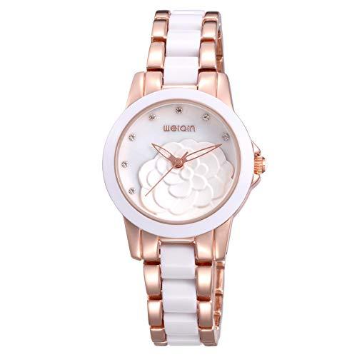 HWCOO Relojes de Pulsera Señoras Weiqin Reloj de cerámica Blanca Esfera Grande...