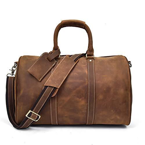 Herren Echtleder Reisetasche Große Kuh Leder Weekend Bag Overnight Messenger (Brown2)