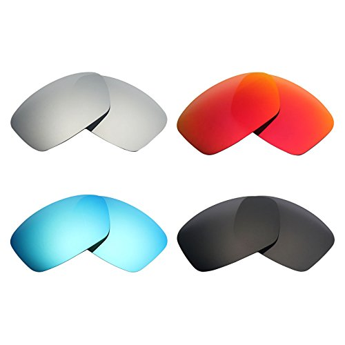 Mry 4paires polarisées Lentilles de remplacement pour Oakley Hijinx Sunglasses-stealth Noir/rouge Feu/ICE Bleu/argent Titane