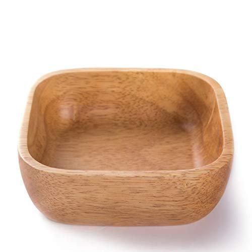 Eenvoudige massief hout klein fruitschaal, gedroogd fruit plaat dessertbord houten bakje salade bowlKinds houten plaat Thee Gerechten Platter Solid Bosrijk Trays Handmade Decoration ontbijt,15*15*4.5