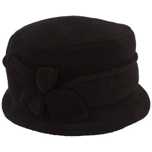 LOEVENICH Damen Winter-Mütze | Fleece-Mütze | Winter-Hut aus weichem Polar Soft Fleece mit Biesen und Blüten Applikation