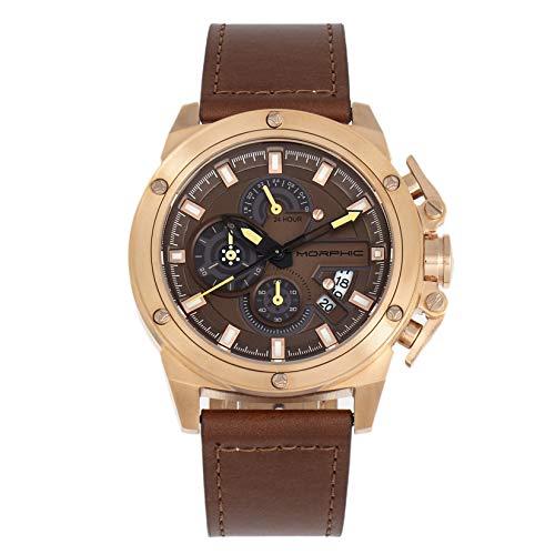 Morphic M81 Series Chronograph Lederband Uhr mit Datum Braun/Rotgold/Braun/Rotgold SKU: MPH8104