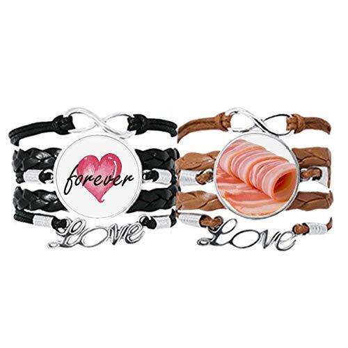 Bestchong Cordero rollo crudo carne alimentos textura pulsera correa de mano cuerda de cuero Forever Love pulsera doble conjunto