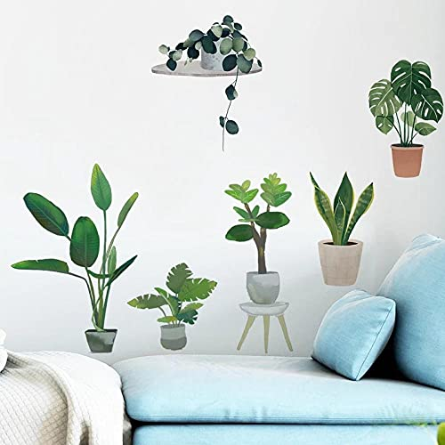 Pegatinas de pared de olla de hoja verde para dormitorio, comedor, sofá, fondo, decoración de pared, vinilo, PVC, calcomanías de pared, murales artísticos, decoración del hogar