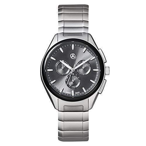 Mercedes Benz Original Herren Armbanduhr Edelstahl Business Chronograph Silber/Schwarz Mercedessammelsurium