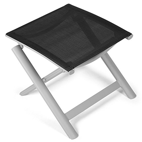 Vanage Alu Hocker in schwarz - klappbarer Fußhocker - Klapphocker - Sitzhocker - Klappstuhl für Camping, Garten, Terrasse und Balkon geeignet