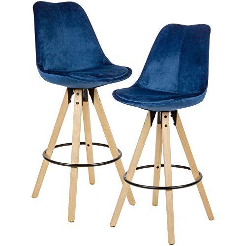 Wohnling 2er Set Barhocker Dunkelblau Samt/Massivholz | Design Barstuhl Skandinavisch 2 Stück | Tresenhocker mit Lehne Sitzhöhe 77 cm