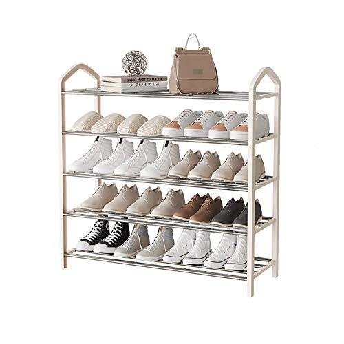 Estante de la torre de zapatos para interiores, 5 niveles de zapatos metálicos Hogar de la sala de estar de la casa Rack Organizador Estante estantelado espesante zapatero, caja de zapatos (color: bla