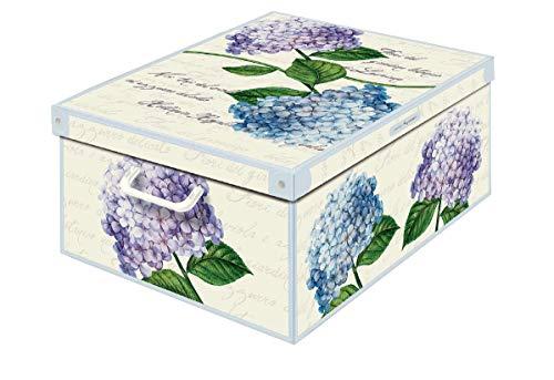 Collection Ortensie, Caja de almacenaje en Carton, Montaje facil 50 x 39 x 24 cm, HORTENSIAS, Grande