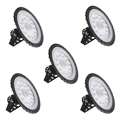 LED Industrielampe UFO 50W, 5 Stück LED Hallenleuchte Industrial Hallenbeleuchtung Werkstattbeleuchtung Kronleuchter, Abstrahlwinkel 120° Kaltweiß 6000-6500K[Energieklasse A++]