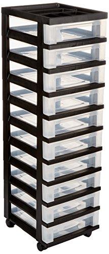 IRIS USA, Inc. Medium 10-Drawer Cart with Organizer Top, Black