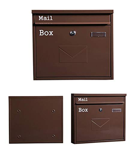 Weerbestendige brievenbus - metaal, groot met brievenbusslot voor tijdschriften, voor buiten, Europese achterkant Chocolade