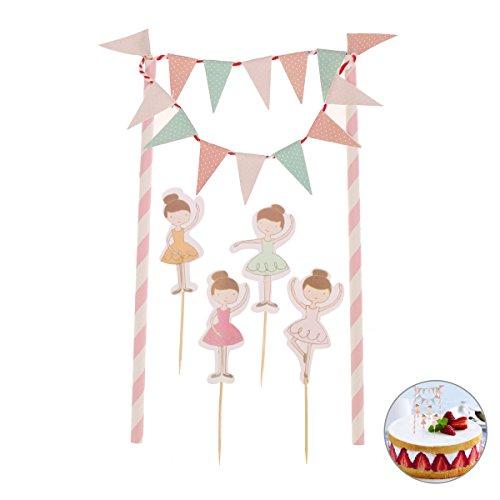 LUOEM Geburtstagstorte Bunting Flag Topper Ballerina Zahnstocher Wrap Dekorationen Kits Ballett Tänzer Party Supplies Baby Dusche Duschen Gefälligkeiten (zufällige Farbe)