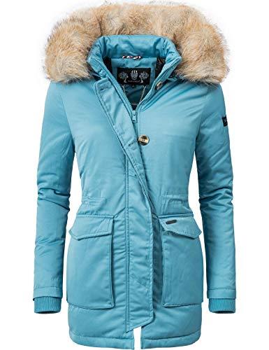Navahoo Damen Winter-Jacke Winter-Mantel Schneeengel (vegan hergestellt) Hellblau Gr. M