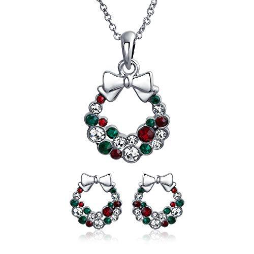 """Bling Jewelry Maison De Vacances Vert Rouge Couronne De Noël Cristal Blanc Plaqué Argent Collier en Laiton Boucles pour Femme Ados 16"""""""