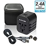 iBlockCube Universal Travel Adapter, All in One Worldwide AC Plug International Wall Charger Adaptor w/Dual Smart Power USB 2.4A & Intelligent Chip for US EU UK AU ASIA Phone Tablet Laptop (Black)