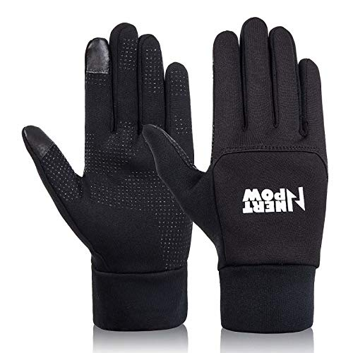 Nertpow Winter Cycling Bike Gloves, Warm Thermal Windproof Driving Running Motorcycling Touchscreen Gloves for Men Women (M)