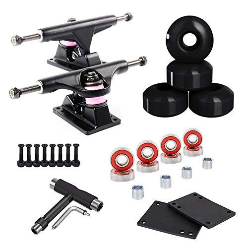 LILI Skateboard Truck - Skate Board Camion Standard 2 Pezzi Skateboard Truck con Supporto Pattino per Riser Wheel (Black-Black1)