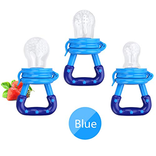 Baby Food Feeder 3 Pack Fresh Fruit Silicone Nipple Teething Toy Reusable Aching Gums Pacifier Blue by Mluchee