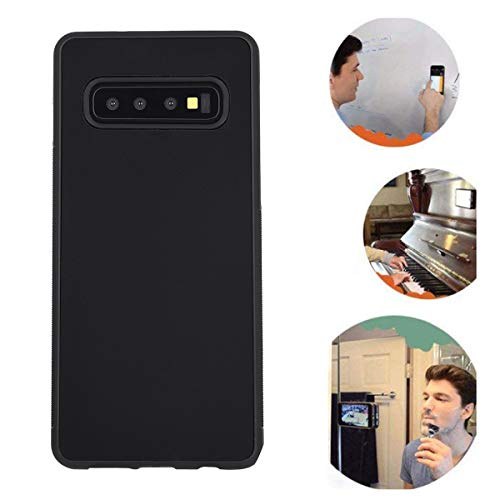 Anti Gravity Galaxy S10 Plus Case, Sticky Selfie Suction Black Anti Gravity Case for Samsung Galaxy S10 Plus S10+ Magic Nano Hands Free Stick on Smooth Surface Gravity Case with Dust Proof Film