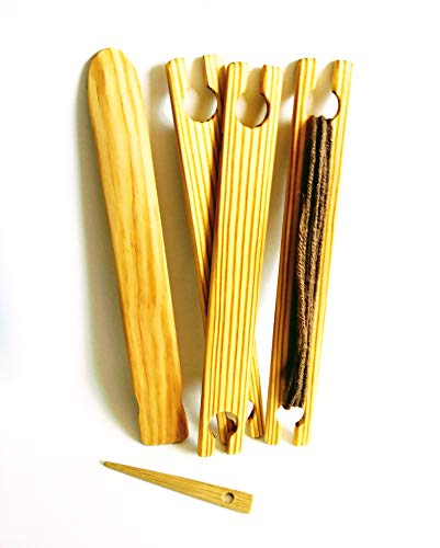 LoomsAndToolz 5 Piece 10 inch Weaving Shuttles, Free Pick up and Stick Needle