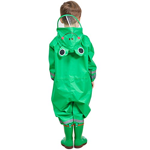 LIVACASA 3D Cute Raincoat Kids Waterproof Breathable Rainsuit All in One Puddle Suits Boys Girls Hooded Muddy Suit with Reflector Lightweight PVC Transparent Hat Brim for Kids Green S 3-5 Years