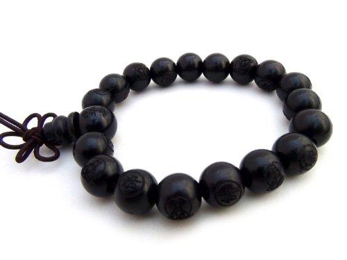 Agathe Creation - Pulsera rosario budista con perlas de madera de ébano esculpidas, diámetro de...