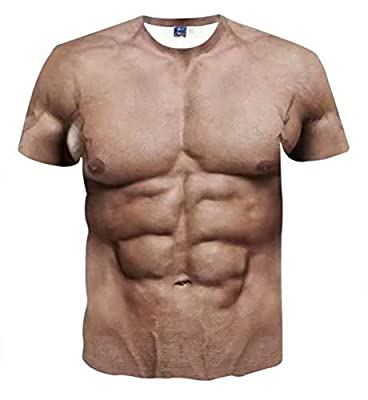Eagle Men Funny Muscle Tee Shirt Undershirt 3D Print Short Sleeve T-Shirts Muscle Six Pack Abs T-Shirt for Man