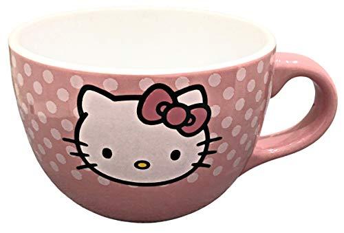 Hello Kitty Jumbo-Kaffeetasse aus Keramik | Außenseite rosa mit weißer Innenseite | Aufschrift Hello Kitty auf der Rückseite mit Kitty-Symbol auf der Vorderseite | 680 ml