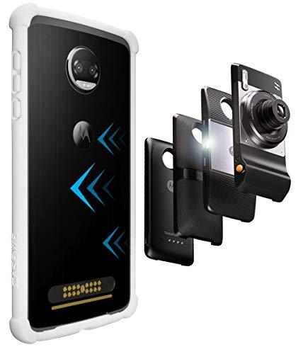 Casewe Funda para Motorola Moto Z2 Force/Bumper Protector Compatible con Moto Mods – Blanco Mate