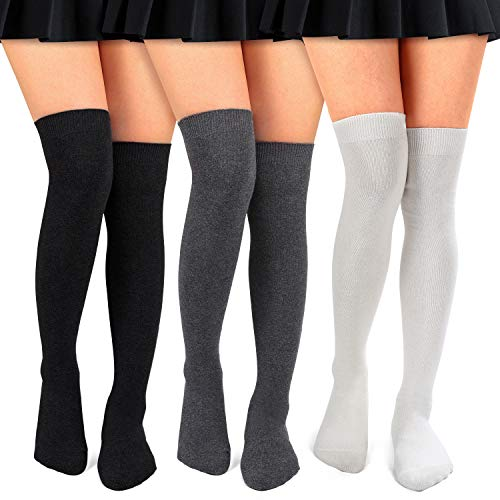 Over the Knee Socks for Women Girls Thigh High Stockings Long Tall Cotton Thin Leg Warmers, 3 Pack