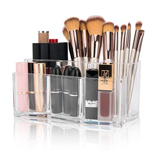 Tompig Kosmetik Organizer, Make Up Aufbewahrung Glasklar Acryl Kosmetikpinsel Kosmetik Aufbewahrung Behälter Lippenstift Schminkpinsel Aufbewahrungsbox Schmuckkästchen 6 Fächer