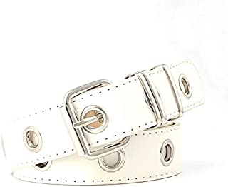 SGJFZD Ladies Belt Fashion Trend Ring Fashionable Decorative Belt Chain Wind Eye Body Hole (Color : White1, Size : 110cm)
