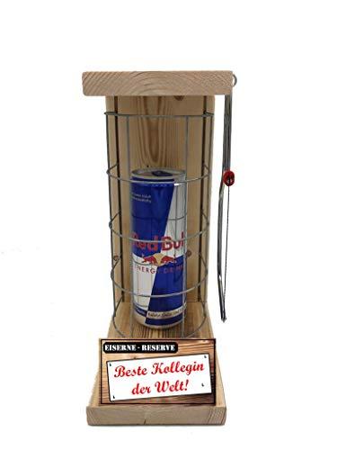 Beste Kollegin der Welt Red Bu - Eiserne Reserve ® Red Bull 0,473L incl. Säge zum zersägen des Gitter - Die lustige Geschenkidee
