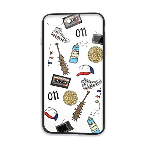 iPhone 7/8 Plus Case Tempered Glass Super Touch Feel Friends Mobile Phone Shell Stranger Art Sticker Things TPU Bumper Cover
