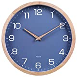 Kesin 12 Inches Wood Blue Wall Clock Silent Round Modern Wall Clocks Battery Operated with Large Numbers & HD Glass Decorative Home Kitchen Living Room Bedroom Kid's Room Office