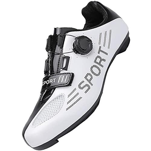 KUXUAN Zapatillas de Ciclismo Hombre Mujer Bicicleta de Carretera Zapatillas de Bicicleta MTB con Tacos Zapatillas de Ciclismo de Montaña,White-8UK=(260mm)=42EU