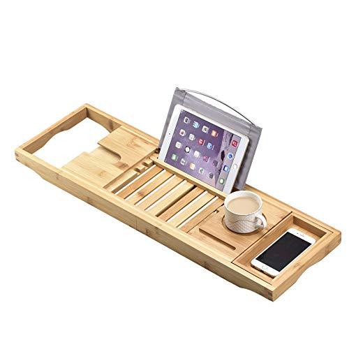Bandeja de bambú de lujo para relajarse, spa de lujo o leer, todos los accesorios de baño, libros, tabletas, teléfonos móviles, champú, jabón, diseño plegable