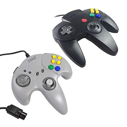 Eaxus® Controller für N64 Set Schwarz + Grau - Gamepad für Nintendo 64