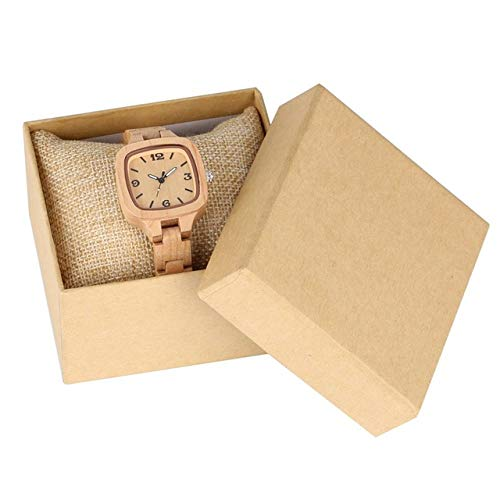 FANLLOOD Reloj de Madera Minimalista Reloj Cuadrado Simple de Madera Reloj de Mujer Slim Light-Ultra Analog Full Bamboo Wooden Bangle Ladies Watches, Bamboo with Box
